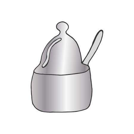 drawn metal: kitchen metal pot with spoon. drawn design. vector illustration