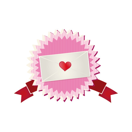seal stamp with white envelope with red heart and ribbon. vector illustration