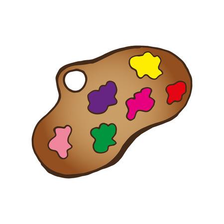 colors paint: art paint brown palette with colors oils. vector illustraiton Illustration