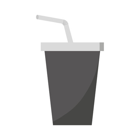 carbonated: soda drink glass with straw vector illustration design
