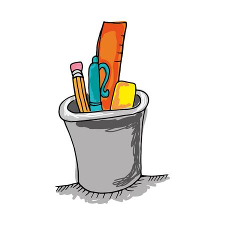 연필 펜 및 통치자와 연필 홀더 컵. 그려진 디자인. 벡터 일러스트 레이 션
