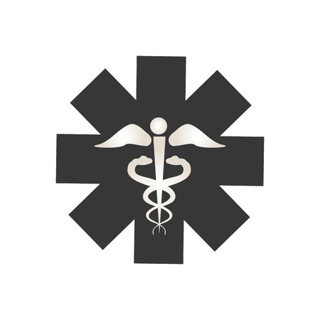 caduceus symbol: medical sign with caduceus symbol. emergency icon silhouette. vector illustration