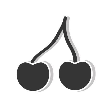 market gardening: cherry fresh fruit healthy food silhouette . vector illustration Illustration