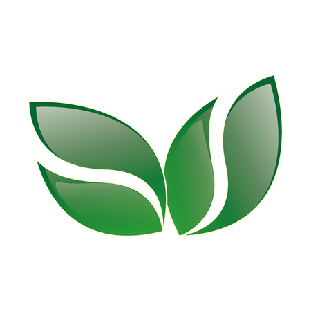 ecology emblem: green leaves shape. corporation ecology emblem. vector illustration Illustration