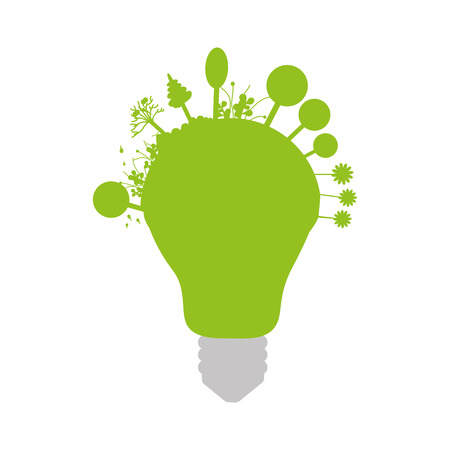 green bulb: green bulb light with trees. environmental idea. vector illustration