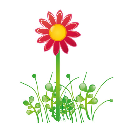 pink flower and green grass plant growing nature. vector illustration