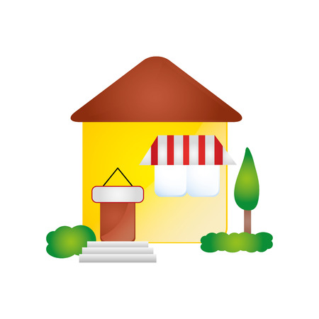 luxury home exterior: house residential property modern building with trees. vector illustration