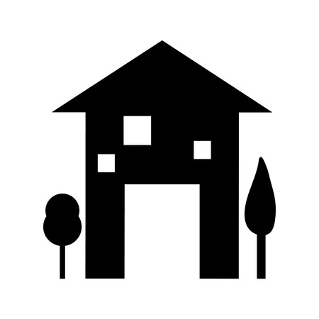 house residential property modern building silhouette. vector illustration Ilustrace