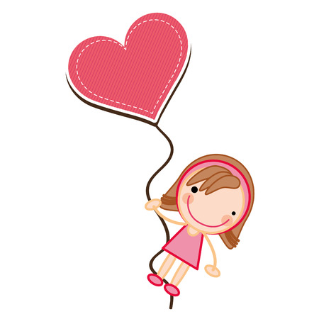 cartoon girl smiling wearing pink dress and heart balloon. vector illustration Illustration