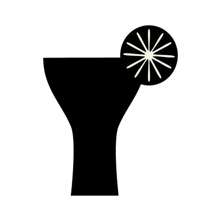 lemon slice: cocktail glass liquor drink with lemon slice silhouette. vector illustration Illustration