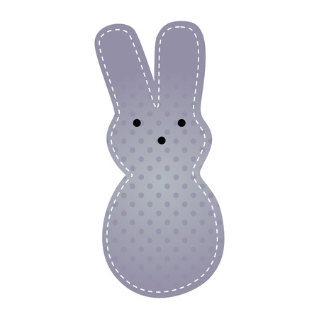 cute purple rabbit animal. easter season. vector illustration