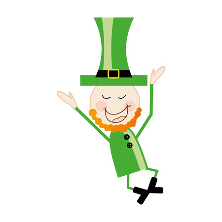green clothes: leprechaun irish man symbol with green clothes and top hat. vector illustration