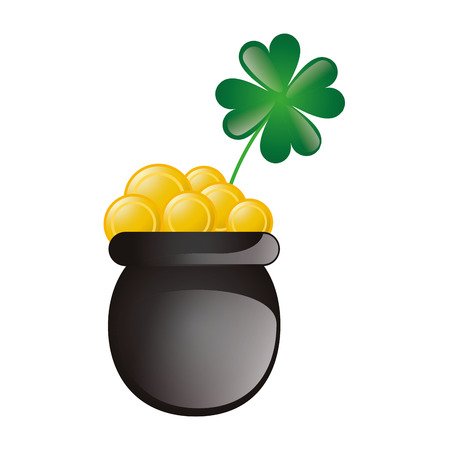 four fourleaf: lucky green clover plant and pot with gold coins. irish symbol. vector illustration Illustration