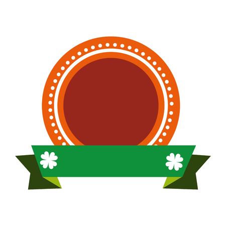 lucky clover: orange seal stamp with green ribbon and lucky clover decoration. vector illustration