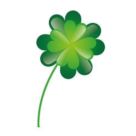 four fourleaf: lucky green clover plant. irish symbol. vector illustration Illustration