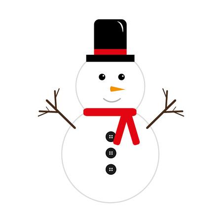 merry christmas snowman character icon vector illustration design Illustration