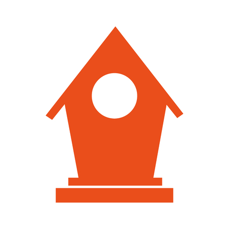 nesting box: orange nesting box. bird house element. vector illustration