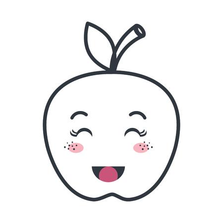Fruta De Manzana Dibujo Animado Del Kawaii Con La Cara Feliz