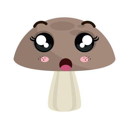 fungi: mushroom fungi food. kawaii cartoon with surprised expression face. vector illustration Illustration