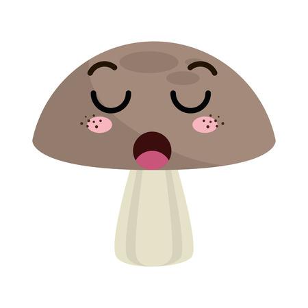 mushroom fungi food. kawaii cartoon with lazy expression face. vector illustration Illustration