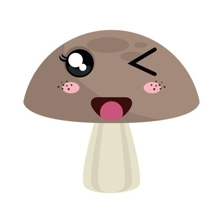 fungi: mushroom fungi food. kawaii cartoon with happy expression face. vector illustration Illustration