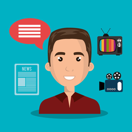 red shirt: avatar  man smiling wearing red shirt and  news and technology icons. vector illustration Illustration