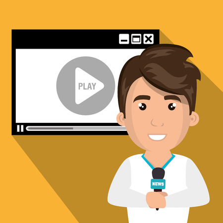 journalist: avatar journalist man smiling with news microphone and video medio player. vector illustration
