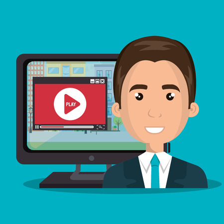 avatar journalist man wearing suit and blue tie and computer with video media player. vector illustration