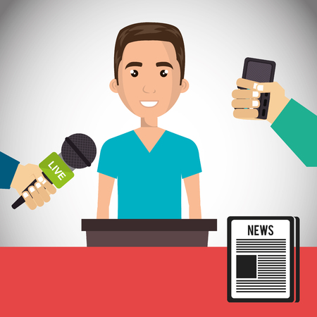 blue shirt: avatar man smiling wearing blue shirt and journalists hands with news microphones and newspaper icon. vector illustration Illustration