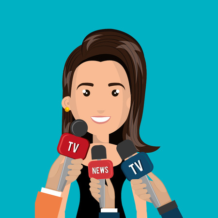 journalist: avatar woman smiling and hands journalist of news and tv microphones. vector illustration