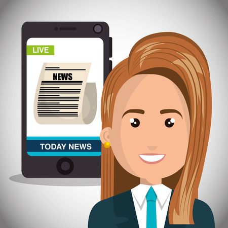 woman tie: avatar woman smiling wearing suit and tie and smartphone with news screen. vector illustration Illustration
