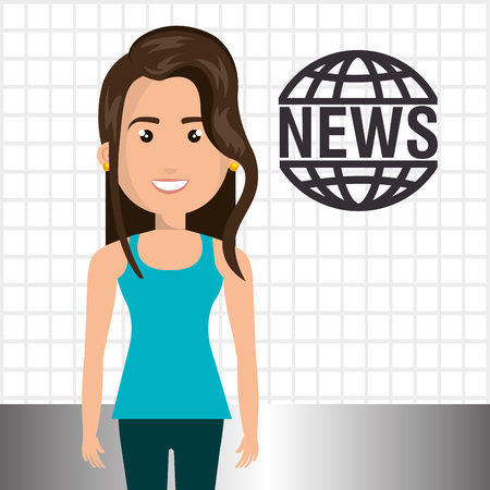 blue shirt: avatar woman smiling wearing blue shirt and green pants and news symbol. vector illustration