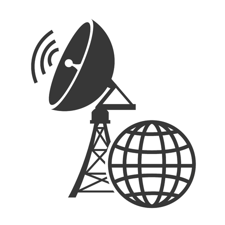 wireless connection: transmitting antenna tower structure with wireless waves and global connection icon. vector illustration Illustration