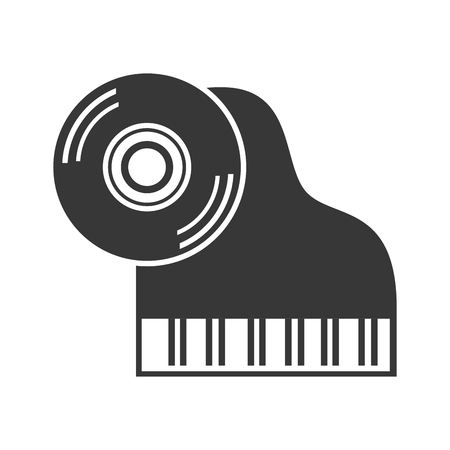 vynil: classic musical piano instrument with longplay vynil icon. vector illustration
