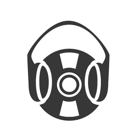 headset symbol: retro vinyl long play disc with headset symbol. vector illustration Illustration