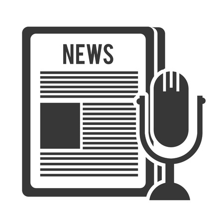 broadsheet: newspaper communication news document with retro microphone symbol. vector illustration