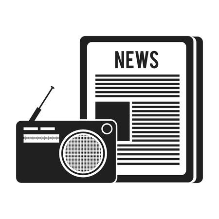 tabloid: newspaper communication news document with retro radio. vector illustration Illustration