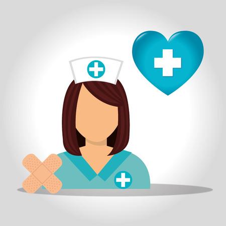 revive: avatar woman nurse medical assitance with medicine icons set. colorful design. vector illustration Illustration