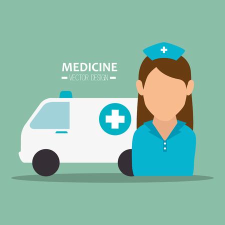 head injury: avatar woman nurse medical assistance with emergency ambulance vehicle. medicine symbols. colorful design vector illustration