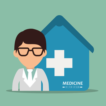 revive: avatar man medical assistance with blue house with white cross. medicine symbols. colorful design vector illustration