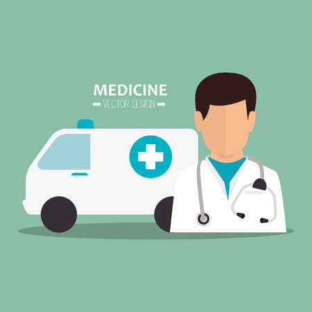 revive: avatar man medical assistance with emergency ambulance vehicle. medicine symbols. colorful design vector illustration