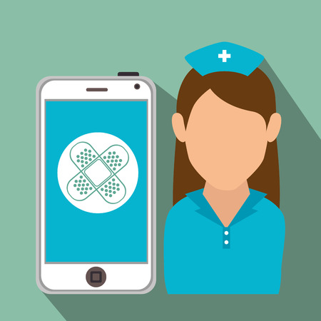 avatar woman nurse medical assistance with smartphone with medicine item. colorful design. vector illustration
