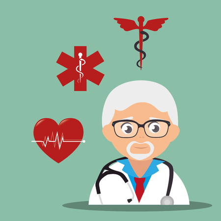 revive: avatar old man medical assistance with medicine icon set. colorful design. vector illustration