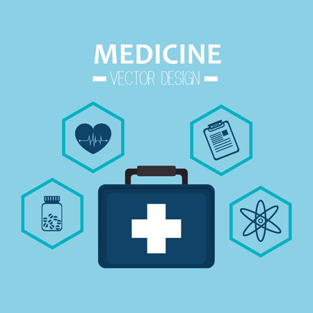 emergency kit: emergency kit briefcase with medicine icon set. vector illustration Illustration