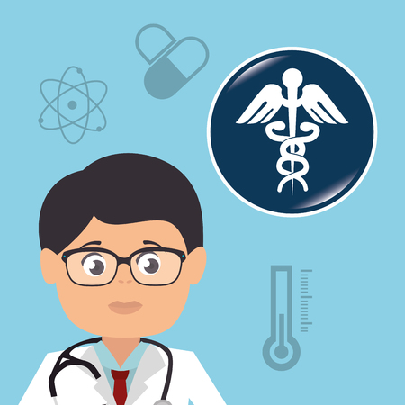 revive: avatar man wearing suit and tie. doctor medical assistance and medicine icon set. colorful design. vector illustration Illustration
