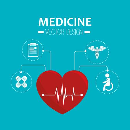 cardio: cardio pulse red heart medicine symbol. vector illustration Illustration