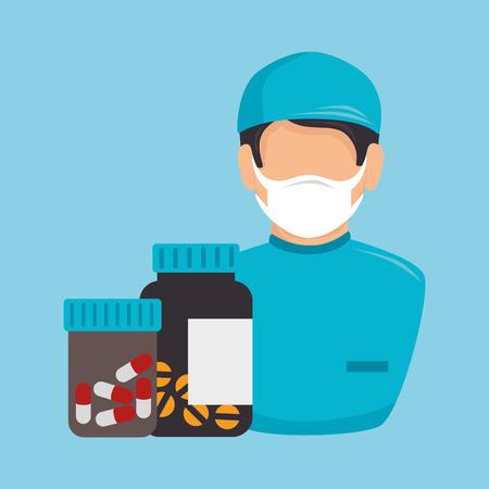 revive: avatar nurse man medical  assistance with bottle pills medicine icon. colorful design. vector illustration Illustration
