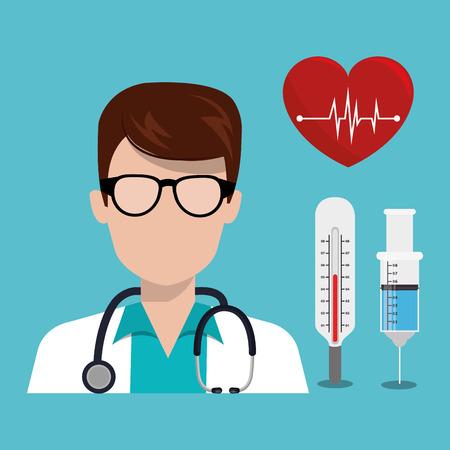 avatar man medical assistance with medicine icon set. colorful design. vector illustration Illustration
