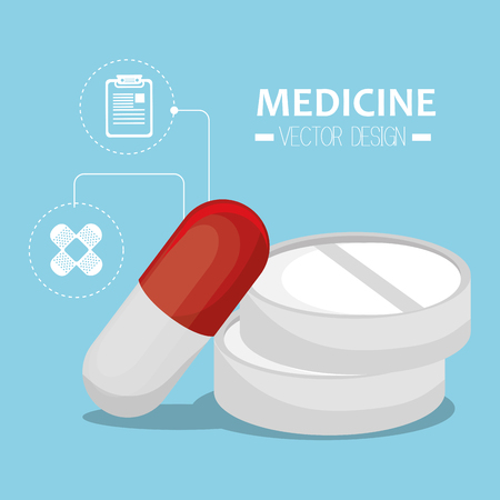 medicament: capsule and pills prescription medicament and medicine icons. vector illustration