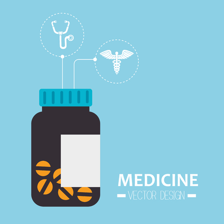 pill prescription: medical prescription pill bottle container with medicine icons. vector illustration
